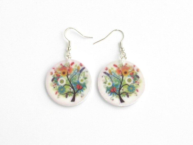 boucles d'oreilles arbres fleuris