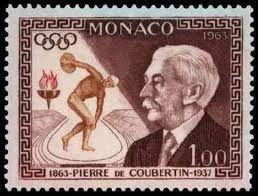 Timbre Monaco 1963 Pierre de Coubertin