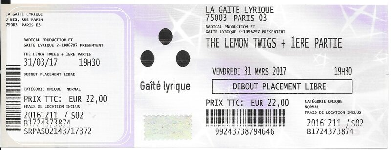 2017 03 31 The Lemon Twigs Elysée Montmartre Billet