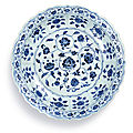 A blue and white 'floral' charger, ming dynasty, yongle period (1403-1424)