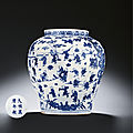 A very rare late ming blue and white 'hundred boys' jar, wanli six-character mark within double-circles and of the period (1573-