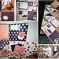 Mini album scrapper en violet et rose