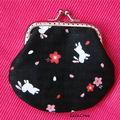 Vendu - porte-monnaie fleurs de sakura & lapins