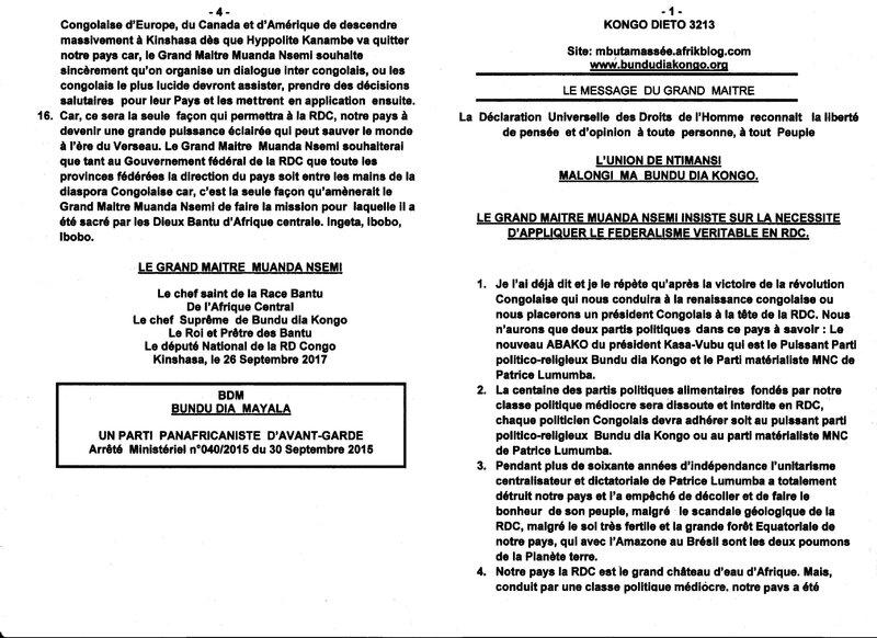 LE GRAND MAITRE MUANDA NSEMI INSISTE SUR LA NECESSITE D'APPLIQUER LE FEDERALISME VERITABLE EN RDC a