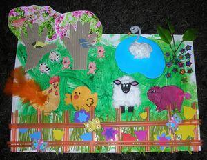 printemps-ferme-animaux-collage-tableau-peinture-fabriquer-arbres-enfants-enfant-activité-manuelle (1)