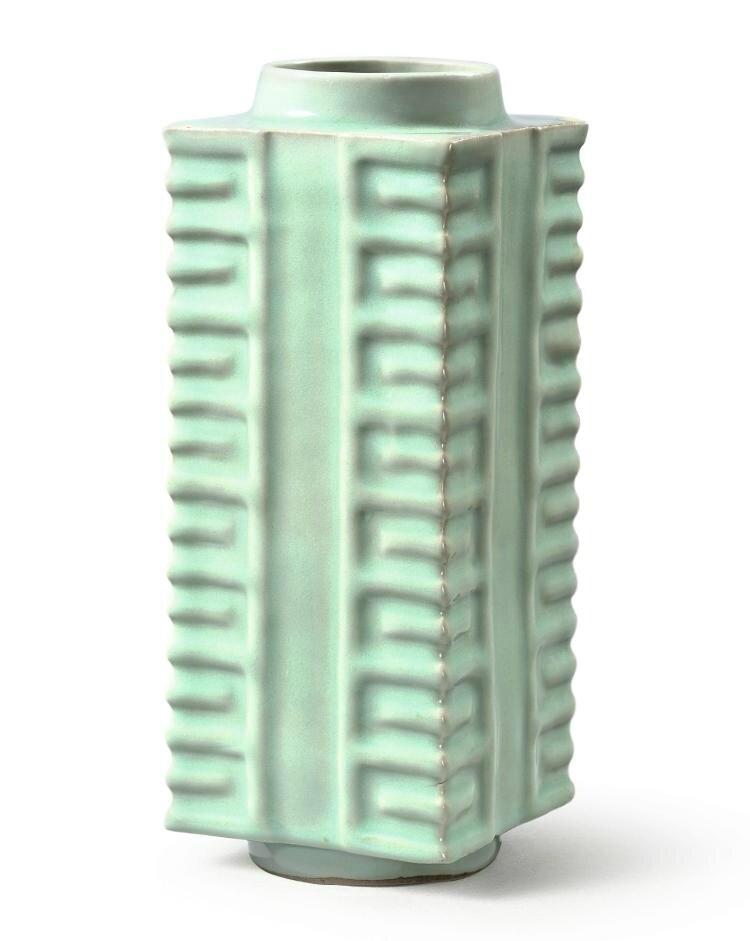 a rare 'Longquan' celadon vase, cong, Southern Song dynasty