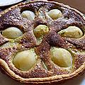 Tarte aux poires, amandes et pistaches