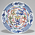 A rare wucai 'dragon' dish, wanli six-character mark in underglaze blue within a double circle and of the period (1573-1619)