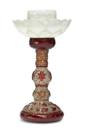 A Chinese glass 'Lotus' candlestick, 20th century