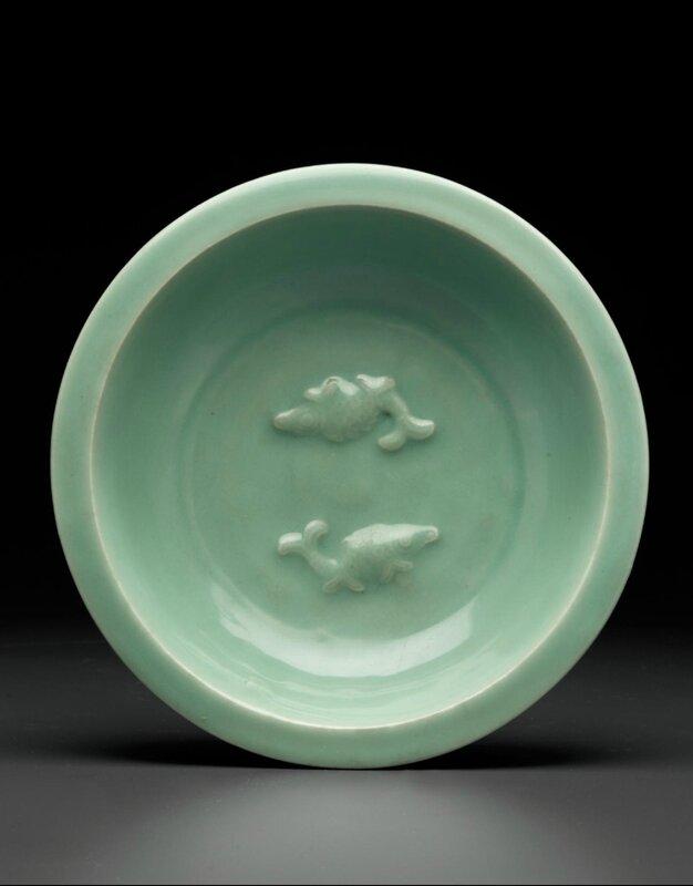 A Longquan celadon 'Twin fish' dish, Late Southern Song-Yuan dynasty, 13th-14th century