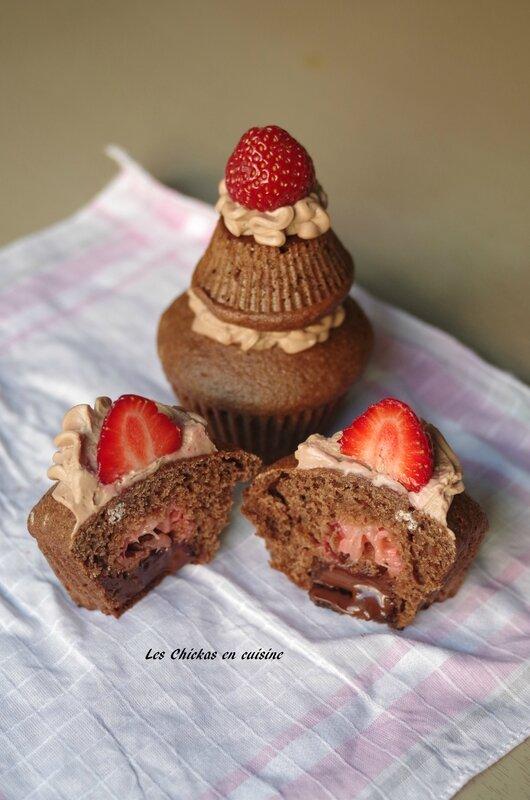 cupcake coulant chocolat fraise (1)