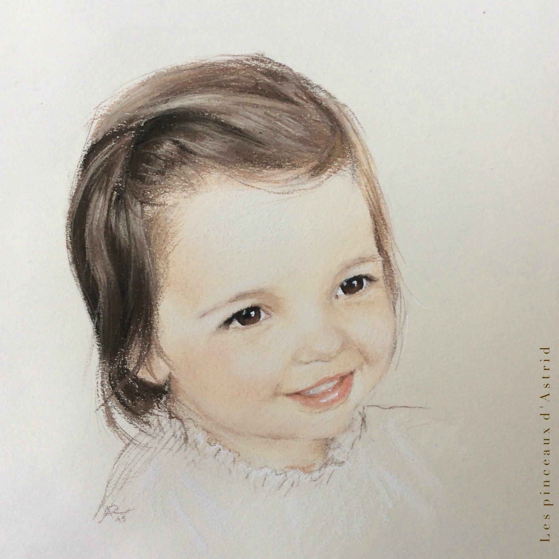 portrait d'enfant pastel brune