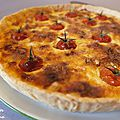 Tarte au poulet, bleu de bresse et tomates cerises