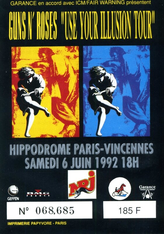 concert Guns N Roses Soundgarden Faith No More Paris Hippodrome de Vincennes 1992 ticket