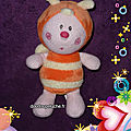 Doudou abeille/papillon luminou, orange jaune, www.doudoupeluche.fr