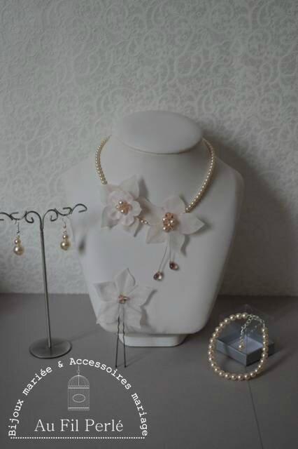 parure mariée mariage rose poudré fleur soie perles nacrées
