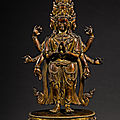 A gilt-bronze figure of eleven-headed avalokiteshvara, qing dynasty, 18th century