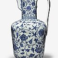 An exceptionally rare and important blue and white ewer, xuande mark and period (1426-1435)