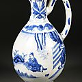 Chinese Porcelain Underglaze Blue Ewer, 17th Century