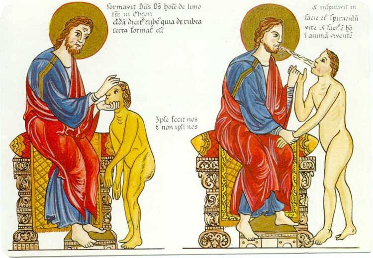 création d'Adam en Gn 2, Hortus Deliciarum