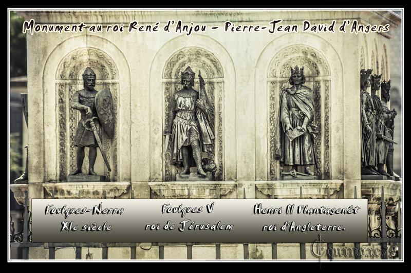 Foulques-Nerra, Foulques V, Henri II plantagenêt - Monument Sculpture roi René – Angers