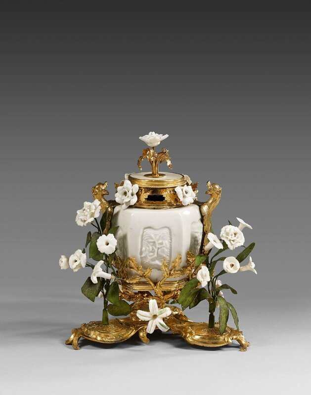 A Louis XV ormolu-mounted chinese celadon porcelain pot-pourri vase and cover, Paris, 17502