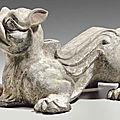 An unusual painted grey pottery mythical beast-form stand, eastern han dynasty (ad 25-220)