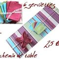 Chemin de table et 6 serviettes assorties