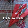 Pliage de serviettes: porte-couverts