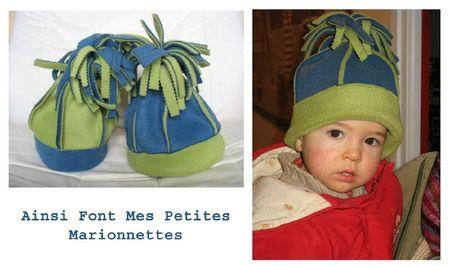 bonnet polaire bleu-vert