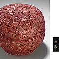 A carved red lacquer 'nine dragon' box and cover, qianlong six-character incised and gilded mark and of the period (1736-1795)