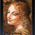 détail d'un ange de la Vierge aux Rochers (version religieuse) de Léonard de Vinci.