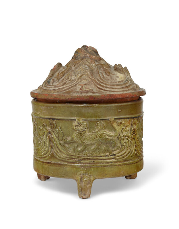 A green-glazed pottery cylindrical 'hill' censer and cover, Han dynasty (206 BC-AD 220)