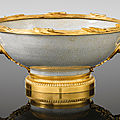 A gilt-bronze mounted chinese celadon porcelain bowl, the mounts in régence style, 19th century, signed henry dasson