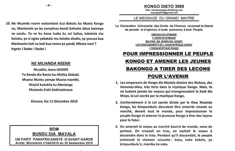 POUR IMPRESSIONNER LE PEUPLE KONGO ET AMENER LES JEUNES BAKONGO A TIRER DES LECONS POUR L'AVENIR a