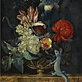 Willem van aelst (delft 1627 - in or after 1683 amsterdam (?), a still life with tulips and other flowers in a vase on a marble