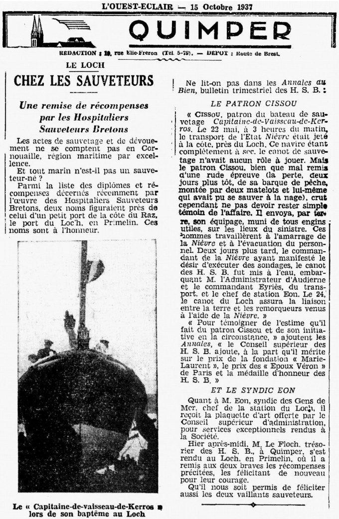 CH15 - Presse OE du 15-10-1937 - Station de sauvetage HSB du Loch Primelin - Bateau CV de Kerros
