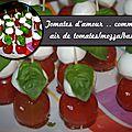 Tomates d'amour .. comme un air de tomates/mozza/basilic