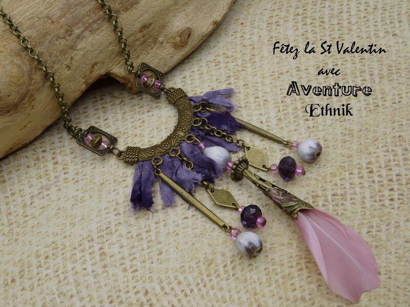 collier J6 plume rose tissu violet (6)