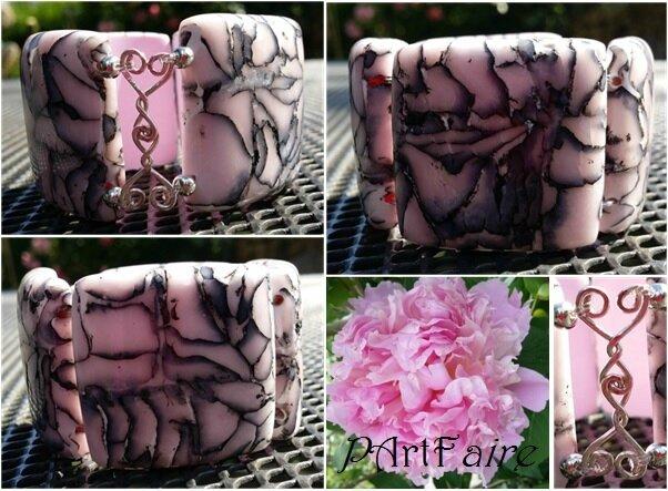 Bracelet raku rose