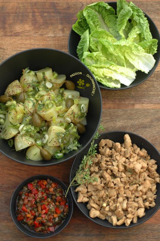 Cuisine à la bière, salade de pommes de terre & poulet au thym
