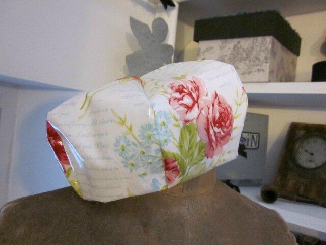 Chapeau de pluie AGLAE en coton enduit blanc imprimé rose rose et caligraphie ciel (3)
