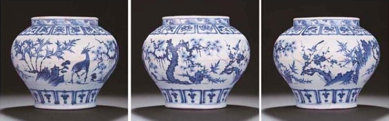 An extremely rare blue and white 'Three friends' jar, guan Yuan dynasty, mid-14th century