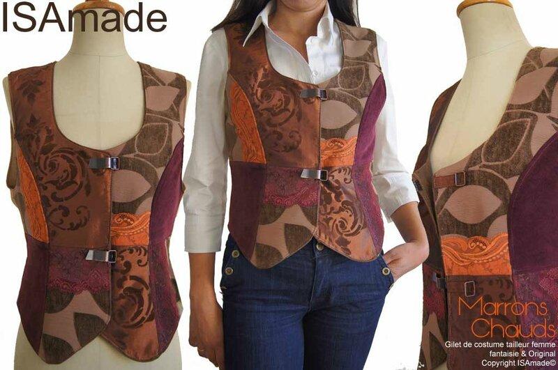 Gilet sans manches costume tailleur femme marron Bordeaux velours dentelle mod 01A copier