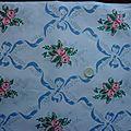 1587 - tissu coton bouquets de fleurs et ruban