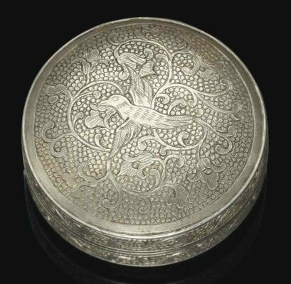 A small circular silver box and cover, Tang dynasty (618-907)
