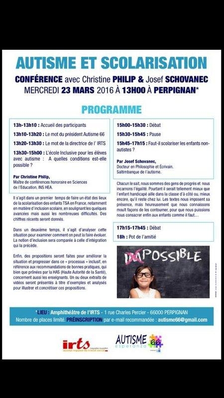 affiche conférence autisme perpignan mars 2016