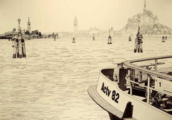 exposition 36 vues du Mont-Saint-Michel musée Scriptorial Avranches 2017 Philippe Caillaud dessin Venise