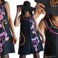 Robe trapèze Noire applications Stylisées Fleurs Seventies Colorées Orange Rose Fuchsia