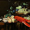 Joris van son (1623 antwerp - 1677), still life with tray of fruit, crayfish and oysters